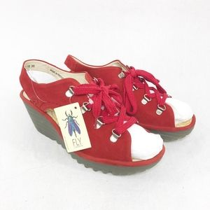 Fly London Cupido Red Sandals Lace Up size 7.5-8